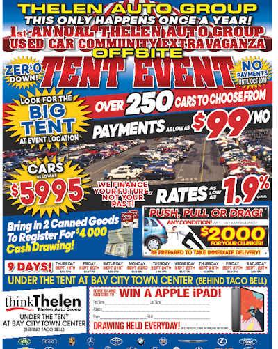 Join Thelen Subaru at the Thelen Auto Used Car Tent Event in Bay City